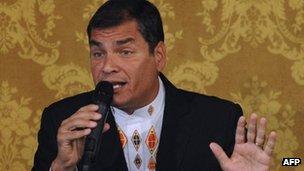 Ecuador's President Rafael Correa on 27 February 2012