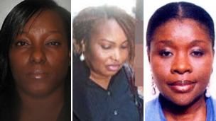 "(left-right) James Ibori""s wife Theresa Ibori, his sister Christine Ibori-Idie, and his mistress Udoamaka Okoronkwo"