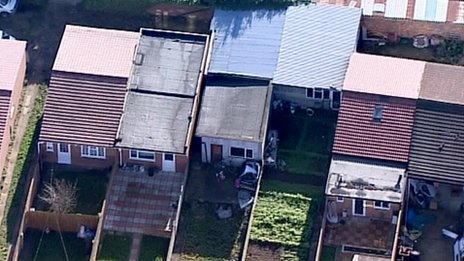 Aerial photograph of makeshift housing in west London