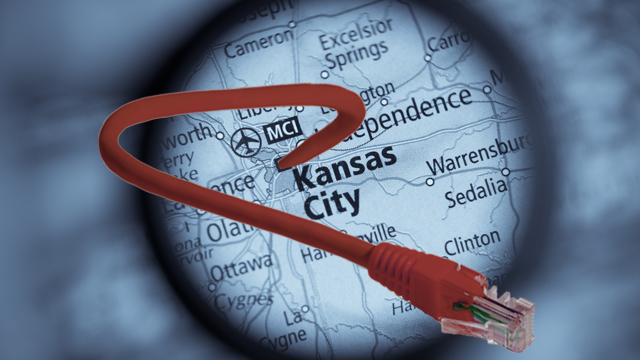 Kansas City map and ethernet cable