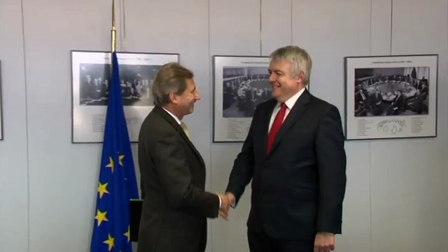 First Minister Carwyn Jones with Johannes Hahn, European Commissioner for Regional Policy