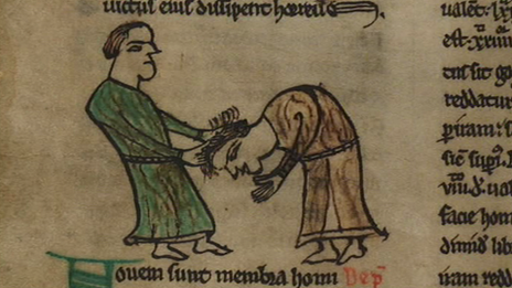 Image from 13th century manuscript of Hywel Dda's laws