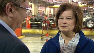 Amy Farmer at a Flint, Michigan assembly line
