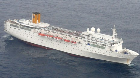 Costa Allegra from Indian Navy aircraft following distress call. Image: Indian Navy