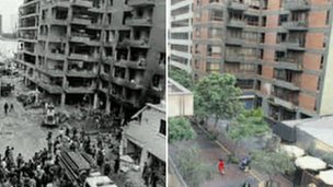 Jiron Tarata after the bombing in 1992 and the same area today