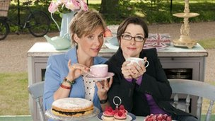 Great British Bake Off hosts Mel Giedroyc and Sue Perkins