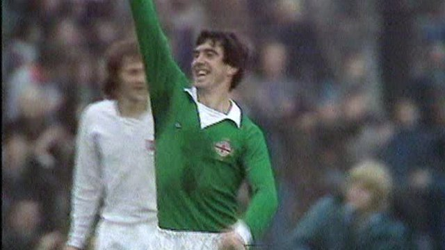 Bryan Hamilton celebrates scoring against Norway in 1975