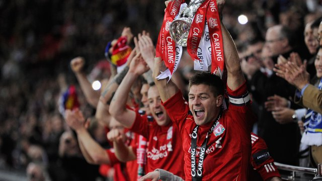 Steven Gerrard lifts the Carling Cup for Liverpool at Wembley