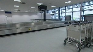 Interior of the new Southend Airport terminal building
