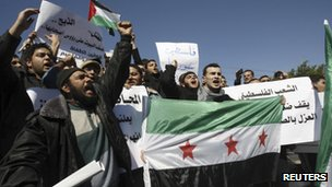 Palestinians in Gaza City protest against the Syrian government (21 February 2012)