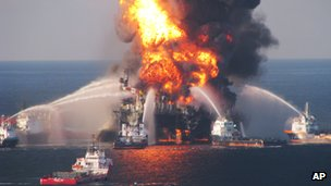 Fire tugs surround the Deepwater Horizon oil rig (22 April 2010)