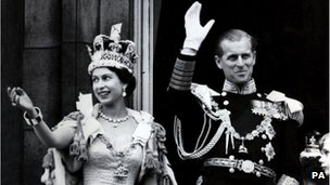 Queen Elizabeth II and the Duke of Edinburgh following her coronation in 1953