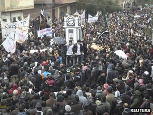 Anti-government protest in Baba Amr district of Homs (29 January 2012)