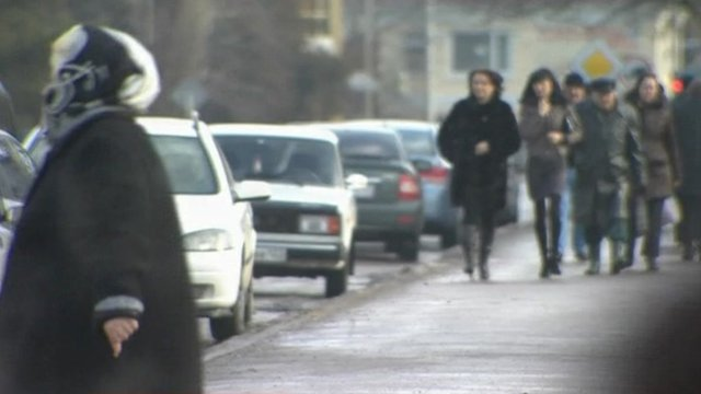 Women on street of Russian town