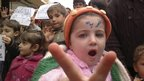Children at a protest near Idlib city, northern Syria (27 February 2012)