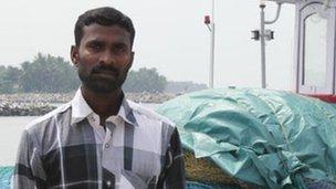 J Fredy, fisherman aboard the St Antony. Kerala state, India