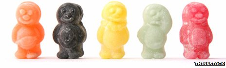 Happy and sad jellybabies