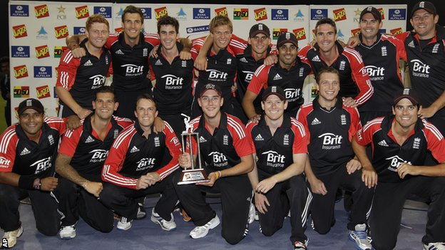 England's one-day squad with the Twenty20 series trophy