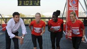 Locog chair Seb Coe with athletes Hannah England and Christine Ohuruogu and actress Tamzin Outhwaite