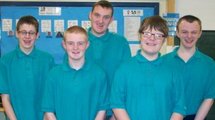 Caolan, Alexander, Macaulay (back row), Sean and Patrick, Sandelford Special School, Northern Ireland
