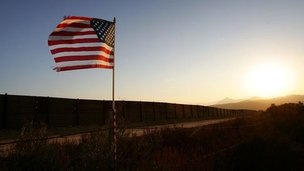 US flag on border