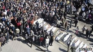 Mass funeral in Homs, 26 Feb 2012