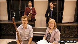 Front row (from left): Harry Ventham (RWCMD, bassoon player), Sarah Reddin (RWCMD, soprano); back row (from left): David Adams (Leader, Orchestra of Welsh National Opera), Phillippe Schartz (BBCNOW, Principal Trumpet). Photo: David Massey.