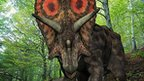 Computer artwork of a Torosaurus wandering in a forest around 65 to 100 million years ago, in what is now south-eastern Wyoming in the United States