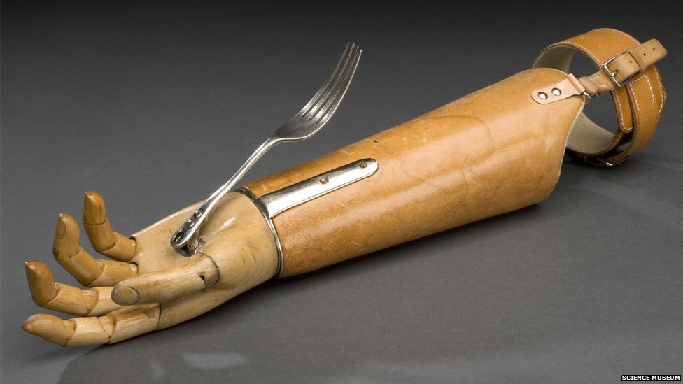 Prosthetic arm with fork attachment. Credit: Science Museum, Brought to Life exhibit