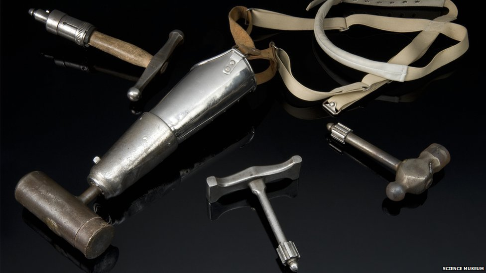 Arm with four hammer attachments. Credit: Science Museum, Brought to Life exhibit