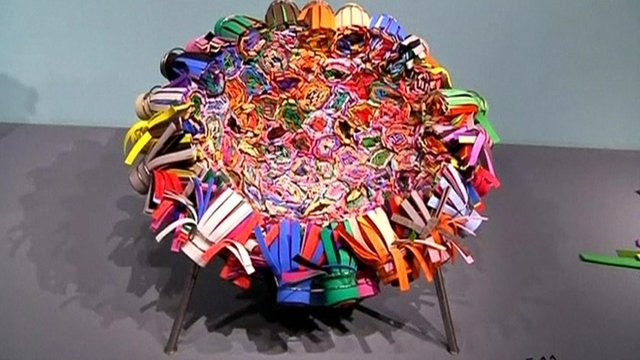 A chair made out of erasers
