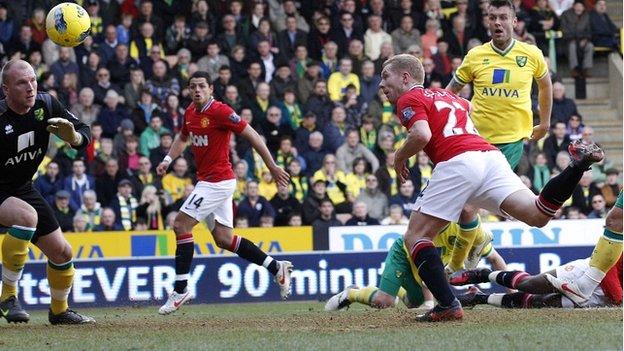 Paul Scholes scores against Norwich