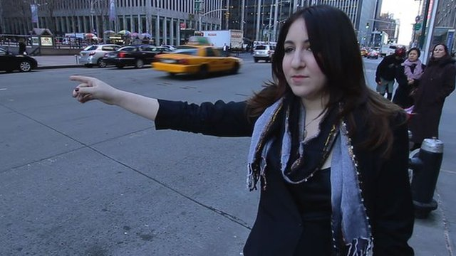Deborah Feldman hailing a taxi