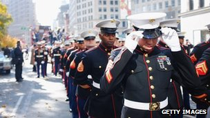 a line of Marines