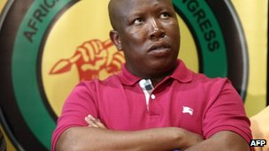 South African ANC Youth league President Julius Malema looks up during a press conference in Johannesburg on 29 August 2011