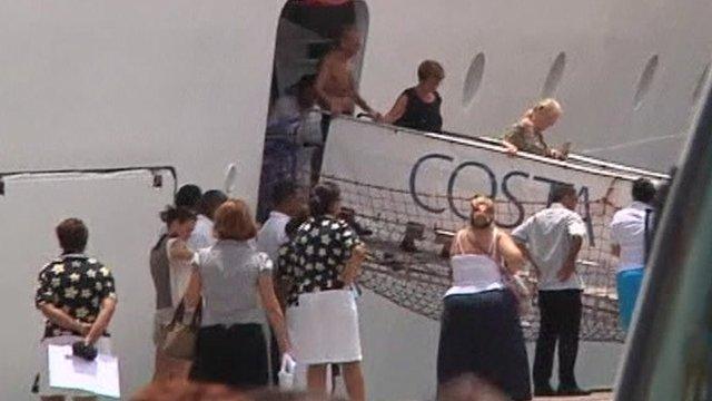 Passengers leaving the Costa Allegra