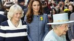Queen Elizabeth II, Camilla, Duchess of Cornwall and Kate, Duchess of Cambridge arrive