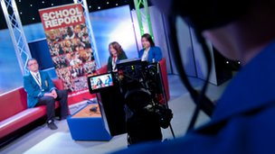 Schools in Northern Ireland in the studio during February's practice News Day