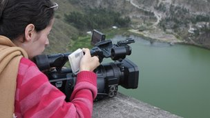 Maria Fernanda Restrepo filming above Lake Yambo