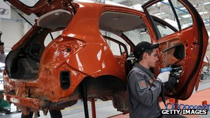 Employee of Great Wall Motor working on a new vehicle at the company's plant in Bahovitsa, Bulgaria