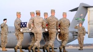 Troops carry the remains of Lt Col John D Loftis, who died in the interior ministry attack