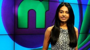 Newsround presenter Nel Hedayat in the Newsround studio