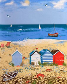 Illustration of the beach scene featured on new Cromer Hospital curtains