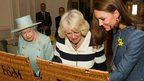 The Queen, the Duchess of Cambridge and the Duchess of Cornwall at Fortnum & Mason
