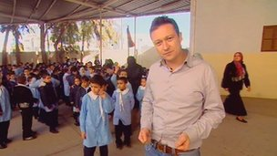 BBC reporter Gabriel Gatehouse at a school in Libya
