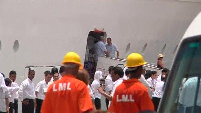 Passengers disembarking