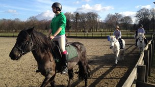 Students are given riding lessons