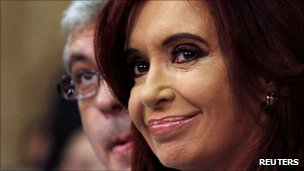 Argentine President Cristina Fernandez addressing Congress in Buenos Aires