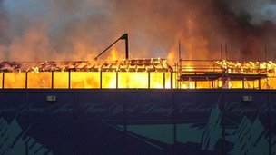 The fire at the Cutty Sark in 2004