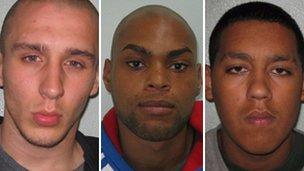 Reece Donovan, John Kafunda and Beau Isagba (l-r) were all convicted of attacking Ashraf Rossli